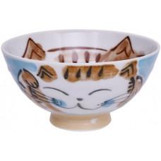 Kawaii Rice Bowl Fuku Cat Blue 11.5x6.2cmh 250ml