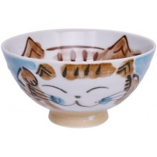 Kawaii Rice Bowl Fuku Cat Blue 11.5x6.2cmh 250ml