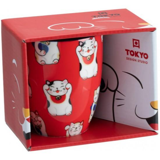 Kawaii Lucky Cat Mug W/Giftbox Red Classic Cat 8.5x10.2cm 380ml