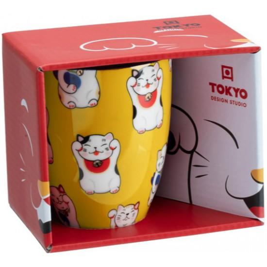 Kawaii Lucky Cat Mug W/Giftbox Yellow Classic Cat 8.5x10.2cm 380ml