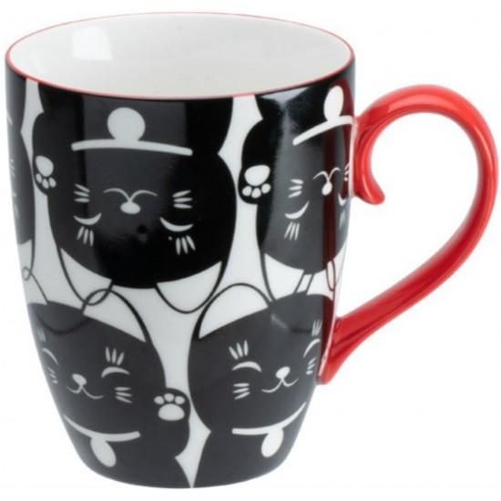 Kawaii Lucky Cat Mug W/Giftbox Black Cat 8.5x10.2cm 380ml