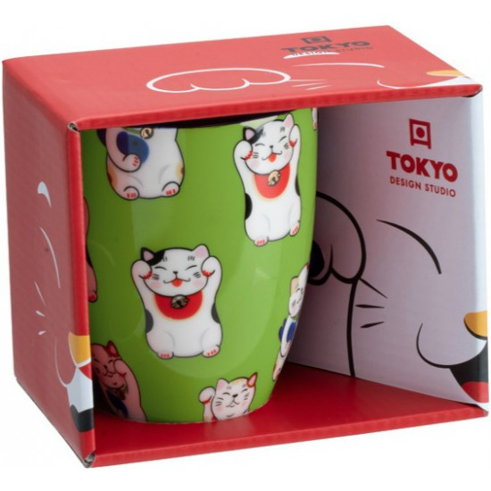 Kawaii Lucky Cat Mug W/Giftbox Green Classic Cat 8.5x10.2cm 380ml